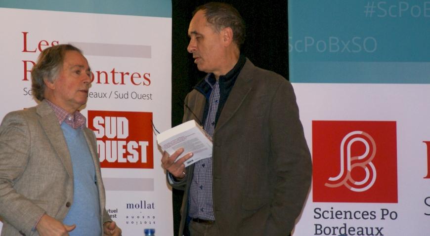Rencontres Sciences Po Bordeaux – Sud-Ouest - Saintes , 20 février 2020 : Alain QUELLA-VILLEGER, académicien, et Christophe LUCET, rédacteur en chef de Sud-Ouest