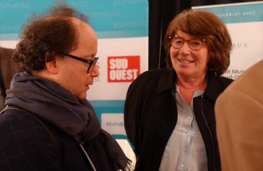 Rencontres Sciences Po Bordeaux – Sud-Ouest - Saintes , 20 février 2020 : Yves DELOYE, directeur de l'IEP de Bordeaux, et Marie-Dominique MONTEL, directrice de l'Académie de Saintonge